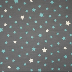 Wipe clean fabric Stars grey/turquoise