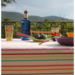 Wipe clean tablecloth Stripes multicoloured round or oval
