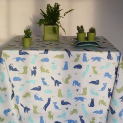 Wipe clean tablecloth Cats Blue round or oval