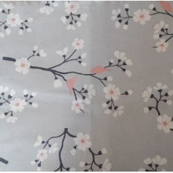 Wipe clean fabric cut Pink Gray Cherry Tree