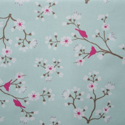 Wipe clean fabric cut Pink Blue Cherry Tree
