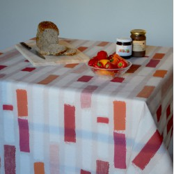 Wipe clean tablecloth Stripes Orange round or oval