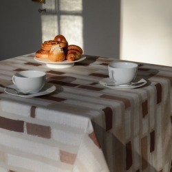 Wipe clean tablecloth Stripes taupe round or oval