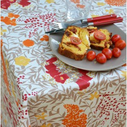 Wipe clean tablecloth Mimose Red round or oval