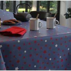 Wipe clean tablecloth Stars red/blue round or oval