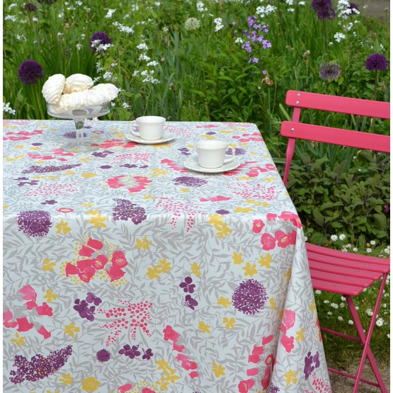 Wipe clean tablecloth Mimose Lilac