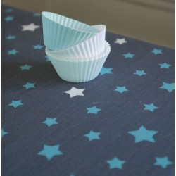 Wipe clean tablecloth Stars grey/turquoise
