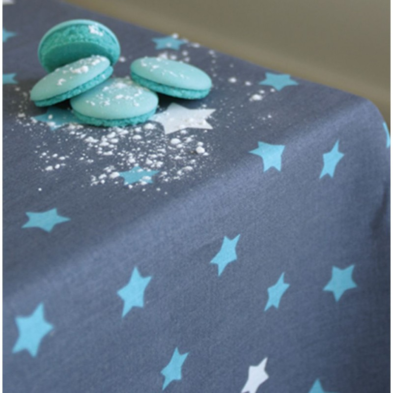 nappe en coton etoiles gris turquoise fleur de soleil. Black Bedroom Furniture Sets. Home Design Ideas