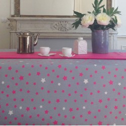 Wipe clean tablecloth Stars Grey/pink round or oval