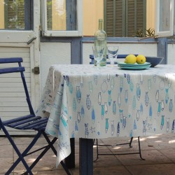Wipe clean tablecloth Fish blue