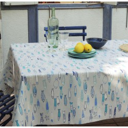 Wipe Clean Tablecloth Fish Blue Round Or Oval