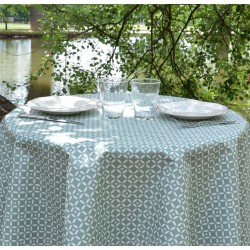 Wipe clean tablecloth Mosaic green round or oval