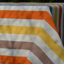 Wipe clean tablecloth Stripes yellow/ taupe round or oval