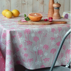 Wipe clean tablecloth Herbs pink/taupe