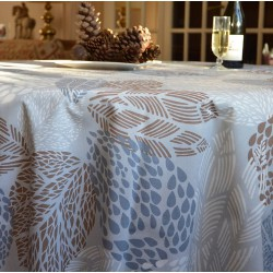 Wipe clean tablecloth Leaves red round or oval