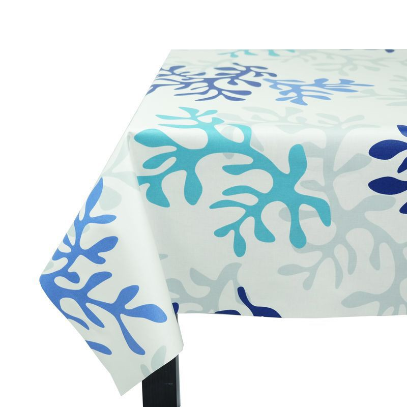 nappe en coton enduit corail bleu fleur de soleil. Black Bedroom Furniture Sets. Home Design Ideas