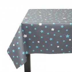 Wipe clean tablecloth Stars grey/turquoiseFleur de Soleil