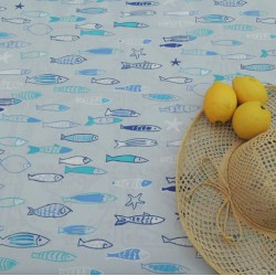 Wipe clean fabric Fish blue