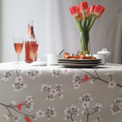 Wipe clean tablecloth Japanese Cherry Braun/coral
