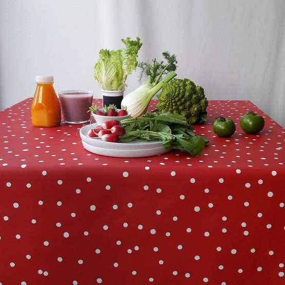 Wipe clean tablecloth Confettis red