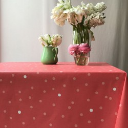 Wipe clean tablecloth Confetti Coral pink