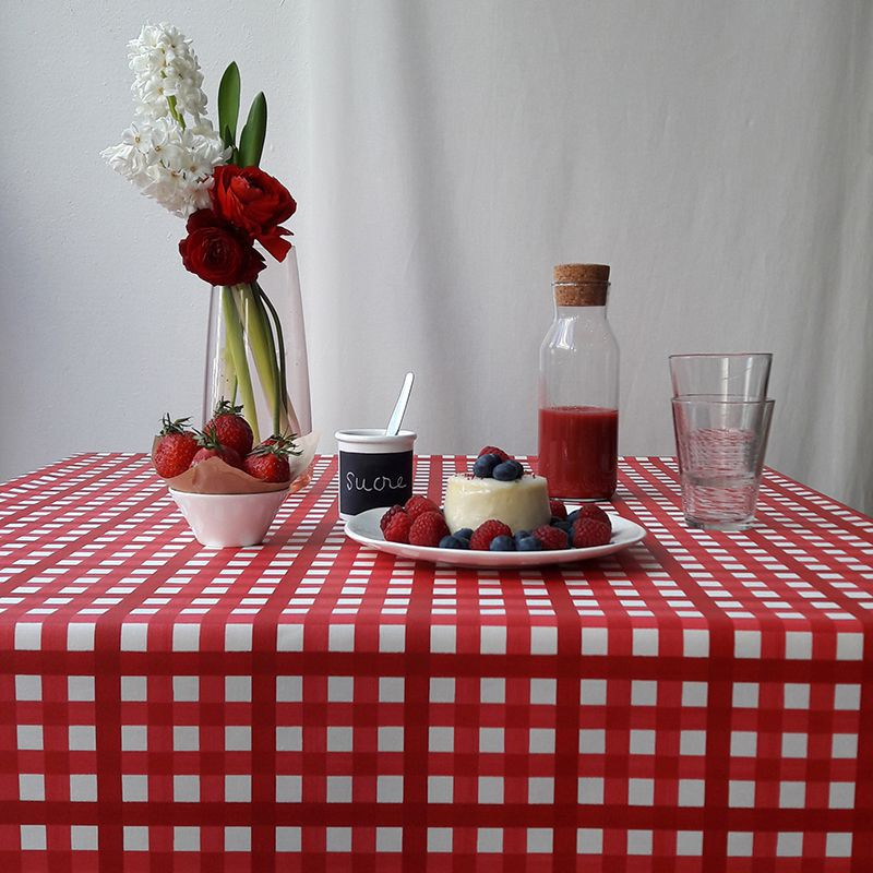 Superior Wipe Clean Tablecloth Guinguette Red Round Or Oval.