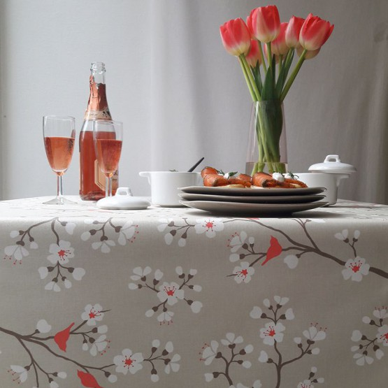 Wipe clean fabric Brown/coral Cherry Tree