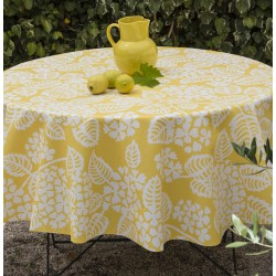Wipe clean tablecloth Hydrangea yellow round or oval