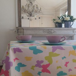 Wipe clean tablecloth Butterfly pastel