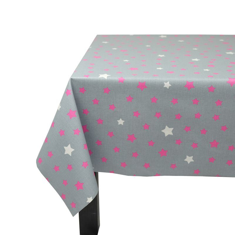 ... Wipe Clean Tablecloth Stars Gray/pink Round Or OvalFleur De Soleil ...