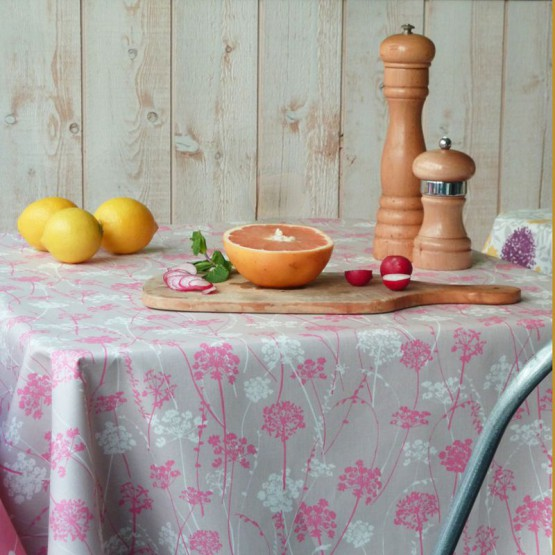 Wipe clean tablecloth Herbs pink/taupe round or ovalFleur de Soleil