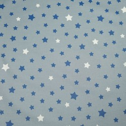 Wipe clean fabric Stars grey/blue