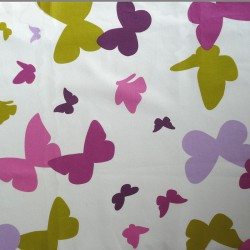 Wipe clean fabric Butterfly green/purple