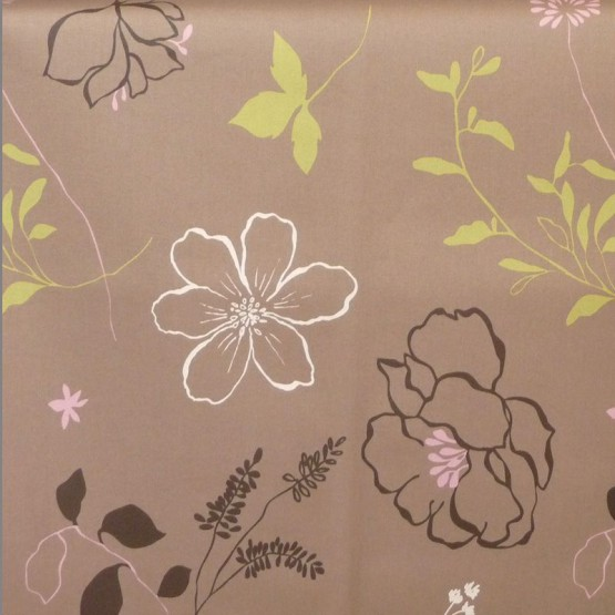 Cotton fabric Camellia taupe/pink