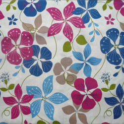 Wipe clean fabric Nasturtium blue/pink