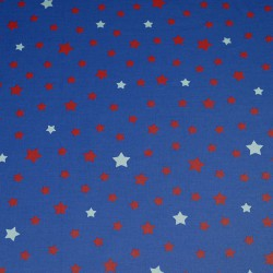 Wipe clean fabric Stars red/blue denim