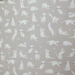Cotton fabric Cats taupe