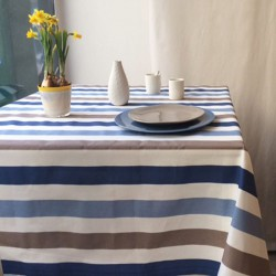 Wipe clean tablecloth Stripes taupe/blue