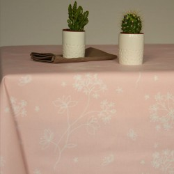 Wipe clean tablecloth Astrancia pink round or oval