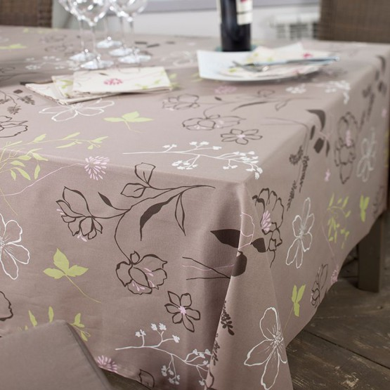 Wipe clean tablecloth Camellia taupe/pink round or oval