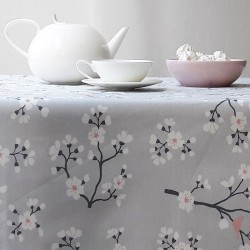 Wipe clean tablecloth Japanese Cherry Gray/pink round or oval
