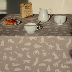 Wipe clean tablecloth Cats taupe round or oval