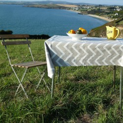 Wipe clean tablecloth Chevron beige round or oval