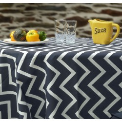 Wipe clean tablecloth Herringbone black/graphite round or oval