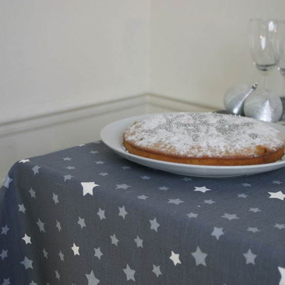 Wipe clean tablecloth Stars Gray Silver round or oval