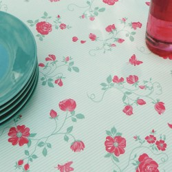 Wipe clean tablecloth Rose green