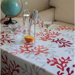 Cotton tablecloth Coral red