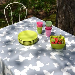 Wipe clean tablecloth Butterfly grey
