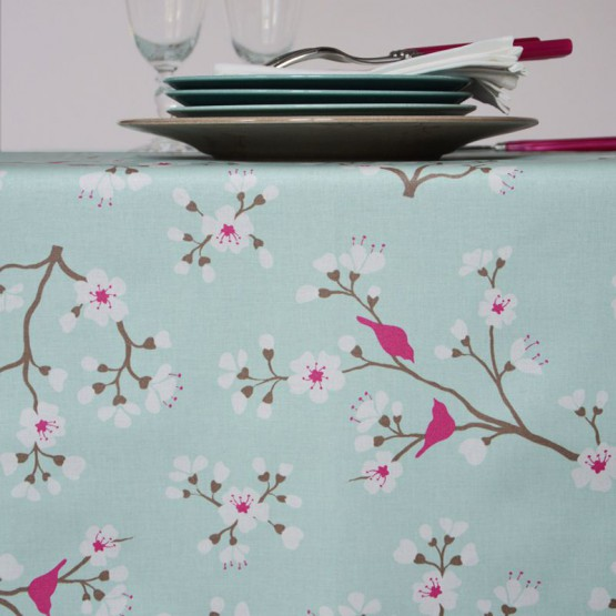 Wipe clean tablecloth Japanese Cherry green