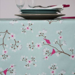 Wipe clean tablecloth Japanese Cherry turquoise